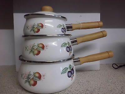 Set of 3 Marks and Spencer Ashberry Enamel Non Stick Saucepans with lids