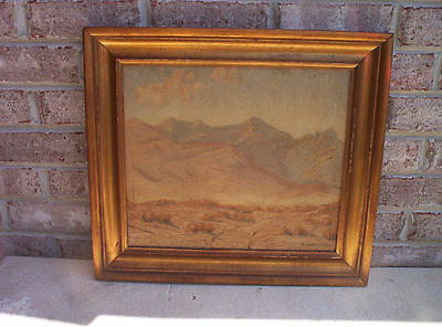 Antique Vintage Oil On Canvas Desert Painting  Signed By Maxwell Herndon