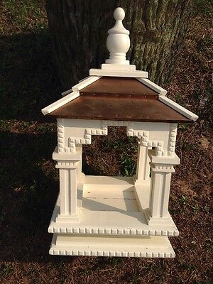"""Bird Feeder Off White Wood With Copper Roof 18-1/2"""" Tall And 10""""X10"""""""