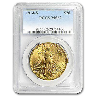 1914-S $20 St. Gaudens Gold Double Eagle MS-62 PCGS - SKU #8644