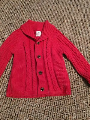 Baby Boys Next Red Knitted Cardigan 9-12 Months