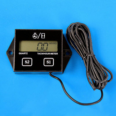 Tach Hour Meter Inductive Tachometer Counter Waterproof 3V For Motorcycle Bike