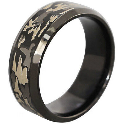 Men Black Stainless Steel Hunting Camouflage Forest Ring Band Outdoor Size 7-14