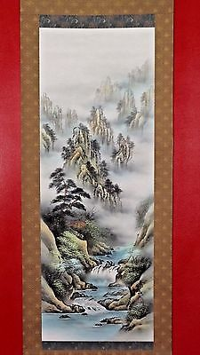 Chinese Silk Watercolor Landscape Hanging Scroll Mincho Style 137cm Mountain