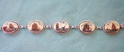 Scrimshaw Signed STERLING Silver Bracelet rare Color Nantucket Whaling Ship