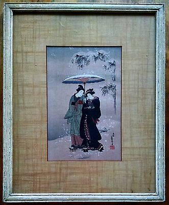 Isoda Koryusai (1735-1790) Geishas Walking in the Snow Japanese Woodblock