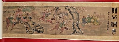 Chinese Silk Watercolor Story Hand Scroll 294cm Warrior Invasion 9½ft Horizontal