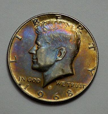 1968-D KENNEDY HALF DOLLAR  50c ,Superb, Toned, Uncirculated, Silver, No Reserve