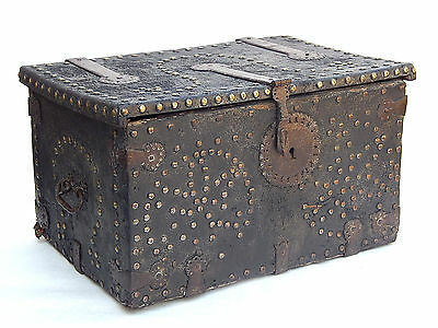 18th C. Spanish Colonial Antique Mexican Storage Trunk Coffer Box Leather