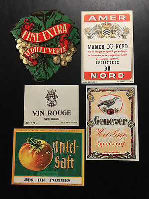 Vintage Lot  of 15 European Wine Labels – New Old Stock LOT (B)