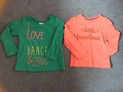 2 Baby Girls Long Sleeved Tops From M&S & Mothercare. Age 18-24 Months