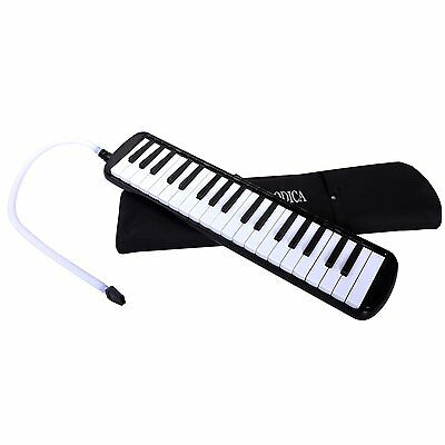 Cahaya Melodica with Case and Mouth Pieces for Children 37-Schwarz