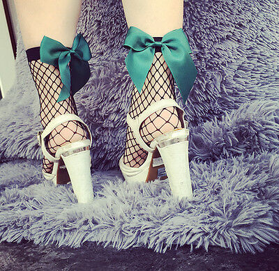 Fashion Women Fishnet Ankle Socks Mesh Fish Net Short Socks Big Hollow Green Bow