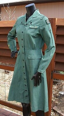 vtg 40's GIRL SCOUTS long sleeve chambray DRESS uniform w/ patches badge hat m/l