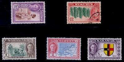Sarawak #190-194 Kgv Top 5 High Values Cds Used Vf