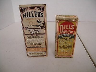 2-Antique Medicine Bottles w/Box, Miller's Antiseptic Oil, & Dill's Digesters