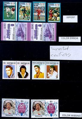 British Commonwealth Sel Of Modern Airs Incl Inverts Missing Colours Etc