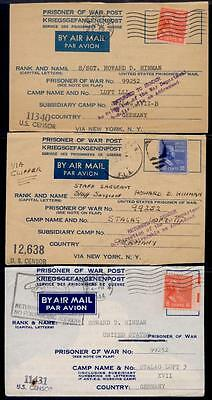 Usa 3 Diff Prexie Prisoner Of War Post Airmail Fronts Only