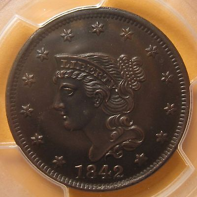 1842 Braided Hair Large Cent (Large Date N-6/R1) – Very Sharp (PCGS UNC Details)