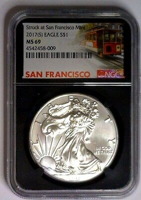 2017(S) Silver Eagle NGC MS69 San Francisco Mint ~ BLACK CORE ~ TROLLEY LABEL
