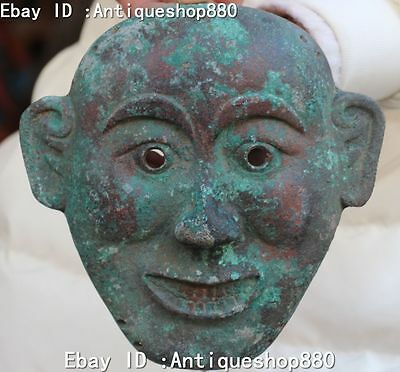"8""  China Dynasty Bronze Human Man Head Face Statue Vizard mask Masks Antique"