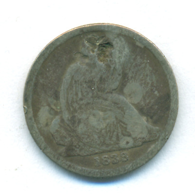 1838-O No Stars Seated Liberty Dime
