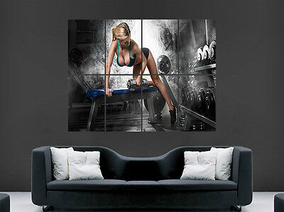 Sexy Girl Hot Weightlifting Gym Fitness Poster Art Wall Large Image Giant