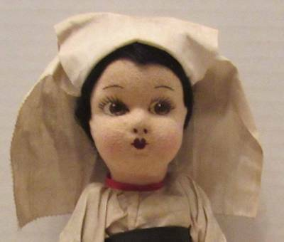 Antique Wonderful Italian Felt Jointed Doll Lenci Type Marked, Circa 1930's 10""