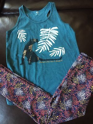 Lot of 2 Girls Kids Old Navy Size 12 14 Outfit shirt tank top leggings pants