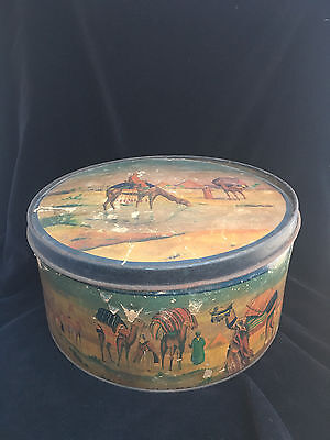 Vintage Cardboard Tin Egyptian Canister Camels Pyramids Biscuit Cake Tin w Lid