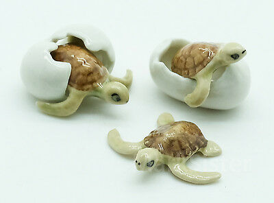 Figurine Animal Miniature Ceramic Statue 3 Sea Turtle Egg - CAT027