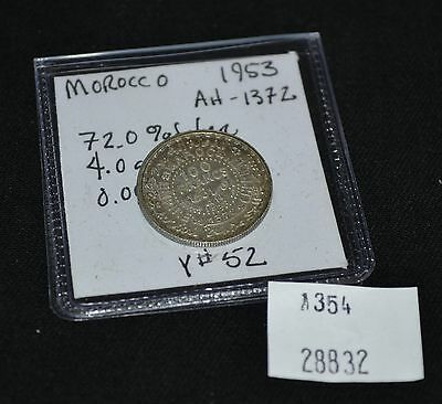 West Point Coins ~ Morocco 1953 100 Francs Silver AH-1372, Y #52 Foreign Coin