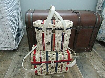 2 Midas Of Miami Wicker Red White Blue USA Basket Box Purse Bag Handbag AMERICA
