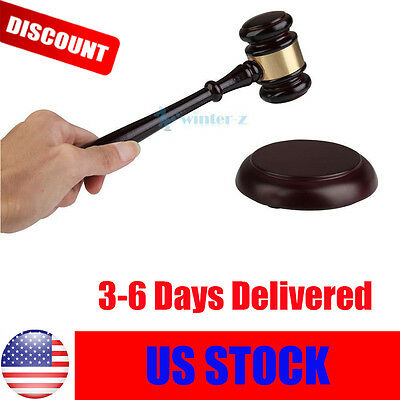 Handcrafted Wooden Gavel Sound Block for Lawyers Judge Auction Sale Hammer WZ