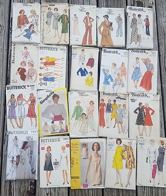 Lot if 20 Vintage Sewing Patterns Bust 36 dress 40s 50s 60s 70s 1950s Vogue mcm