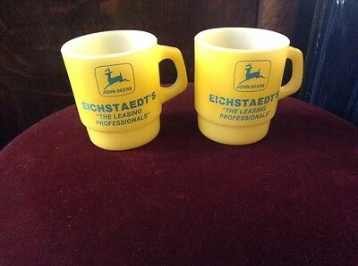 Vintage John Deere Anchor Hocking Coffee Mugs, Cups (Eichstaedt's) Advertising