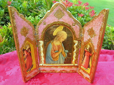 Vintage Italian Florentina Gold Gilt Religious Triptych Tole Toleware