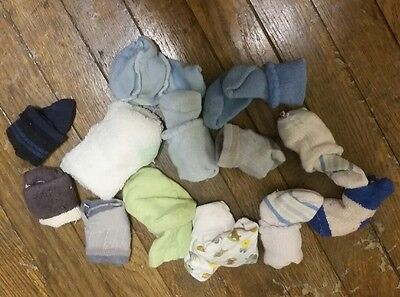Lot Of 13 Brand New 100% Cotton Newborn Boys Size 0-3 Mos Socks