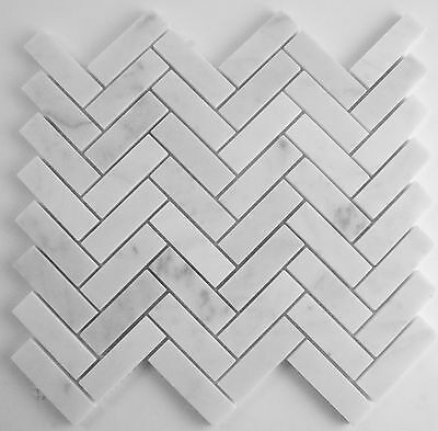 10cm  SAMPLE -Carrara Marble Herringbone Mosaics - 64x20mm