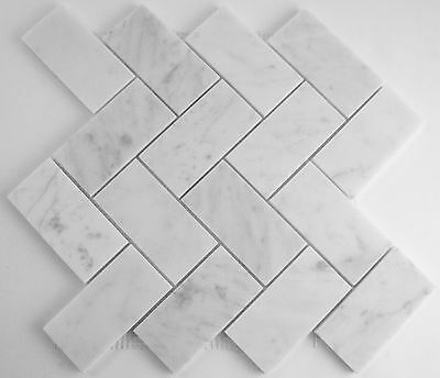 10cm SAMPLE - Carrara Marble Herringbone Mosaics 100mmx50mm