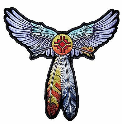 Ladies Native American Indian Wings Feathers Embroidered Patch Large FREE SHIP