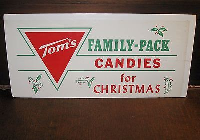 """Vintage Tom's Family-Pack Christmas Candies Advertising Poster 18"""" by 8 ¼"""""""