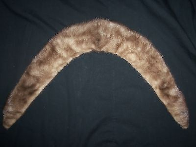 Vintage Caramel Shade Fur Collar with Satin Lining Retro Glam