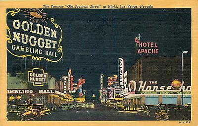 Las Vegas Nevada Famous Old Fremont Street At Night Neon Linen Postcard View