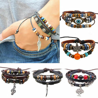 Women Men Bracelet Jewelry Leather Infinity Charm Cuff Bangle Wrap Gift LCXM
