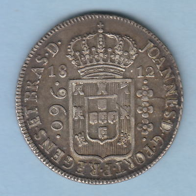 Brazil.  1812-B 960 Reis..  gVF-aEF - Parts of Host Coin visible