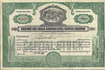 Stock certificate Calumet & Hecla Inc with attach. docum. & transfer stamps 1929