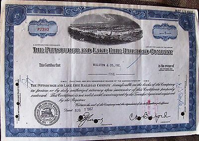 USA stock certificate Pittsburgh and Lake Erie Railroad Company,1960's
