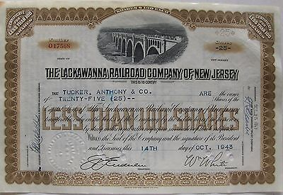 Vintage stock certificate Lackawanna Railroad Company of New Jersey 1940's