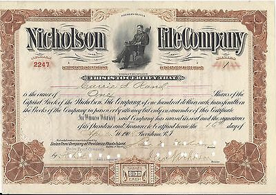 Nichlson File Company STOCK CERTIFICATE 1908 Rhode Island
